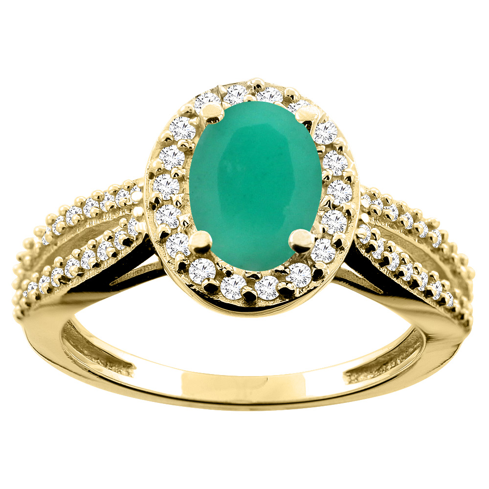 10K White/Yellow/Rose Gold Natural Cabochon Emerald Ring Oval 8x6mm Diamond Accent, size 5