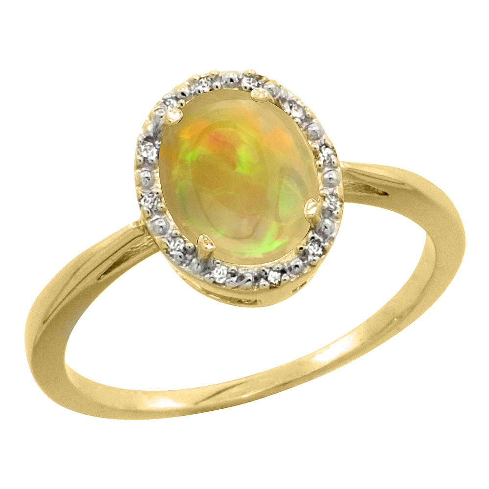 10K Yellow Gold Diamond Natural Ethiopian Opal Engagement Ring Oval 8x6 mm, size 5-10