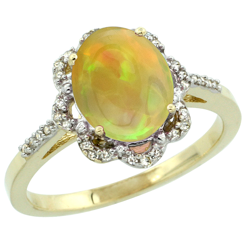 10K Yellow Gold Diamond Natural Ethiopian Opal Engagement Ring Oval 9x7mm, size 5-10