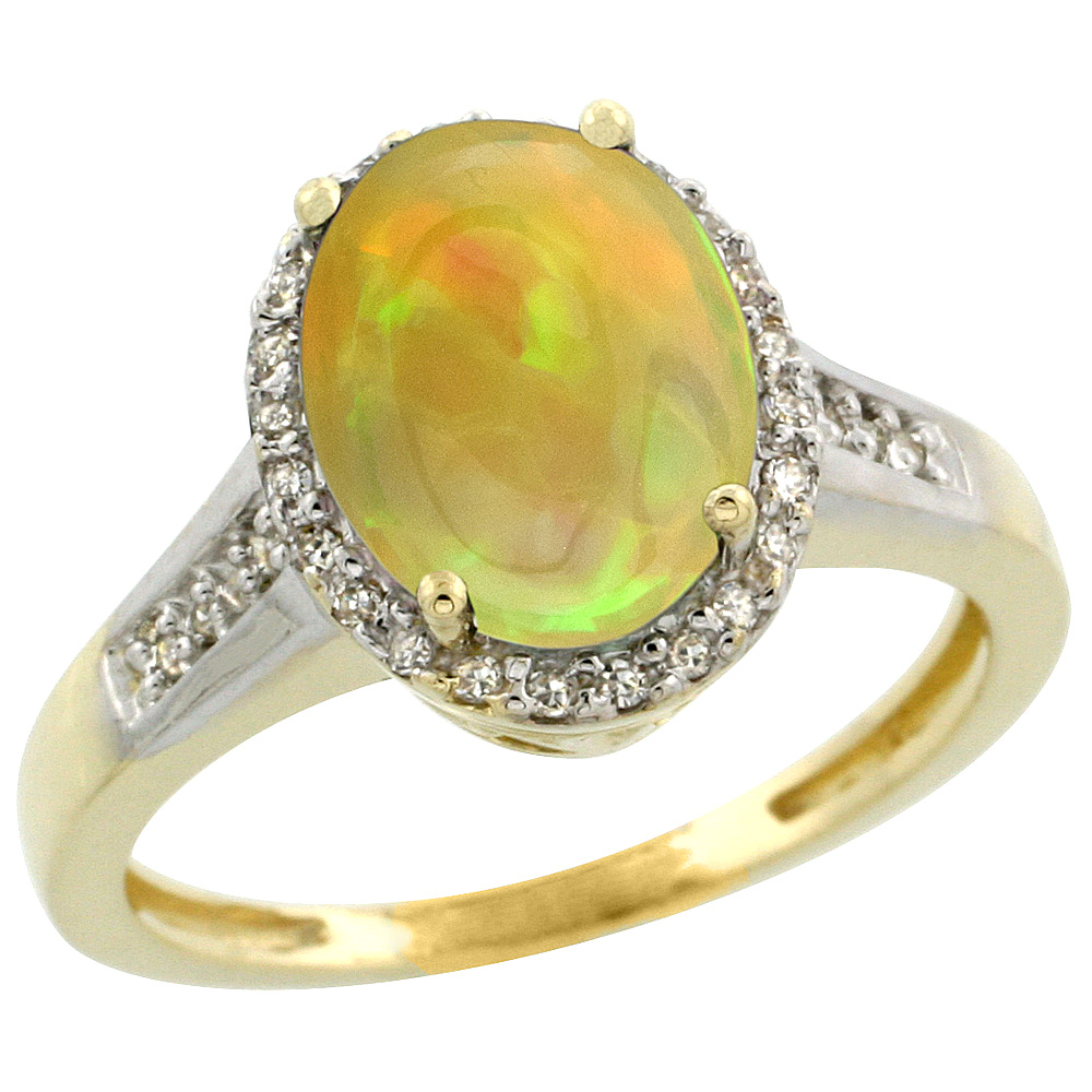 10K Yellow Gold Diamond Natural Ethiopian Opal Engagement Ring Oval 10x8mm, size 5-10