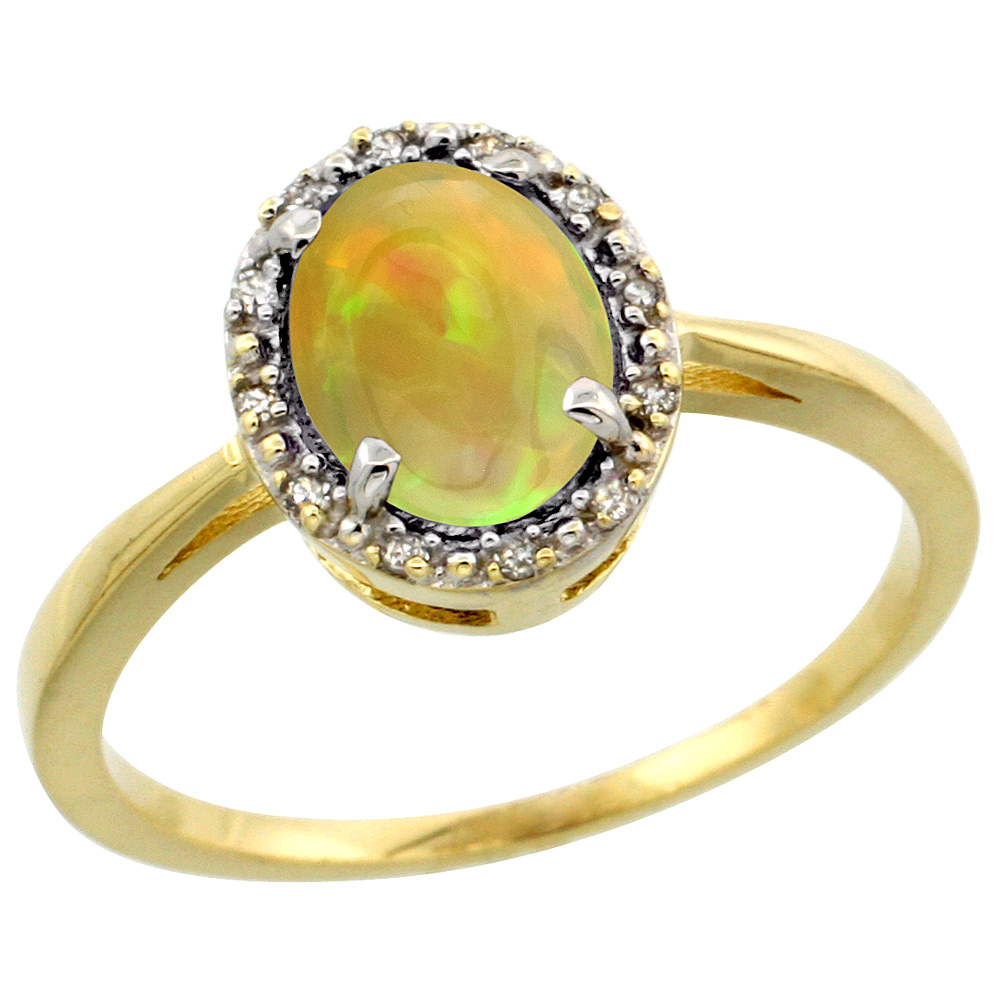 10k Yellow Gold Diamond Halo Natural Ethiopian Opal Engagement Ring Oval 8x6 mm, size 5-10