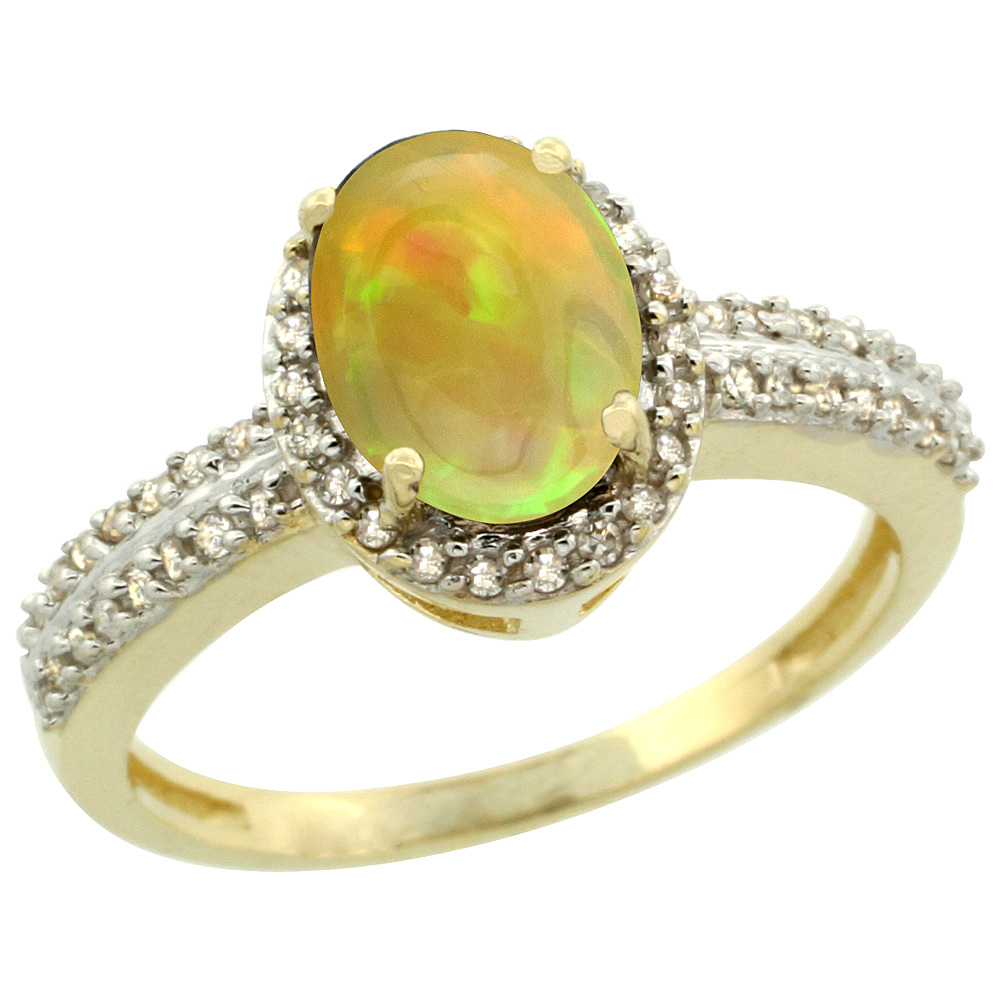 10k Yellow Gold Diamond Halo Natural Ethiopian Opal Engagement Ring Oval 8x6mm, size 5-10