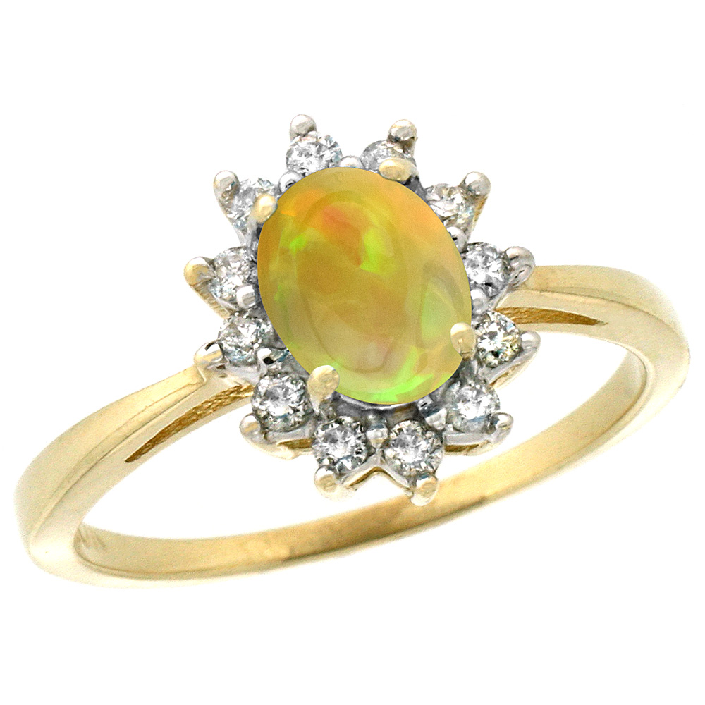 10k Yellow Gold Natural Ethiopian HQ Opal Engagement Ring Oval 7x5mm Diamond Halo, sizes 5-10