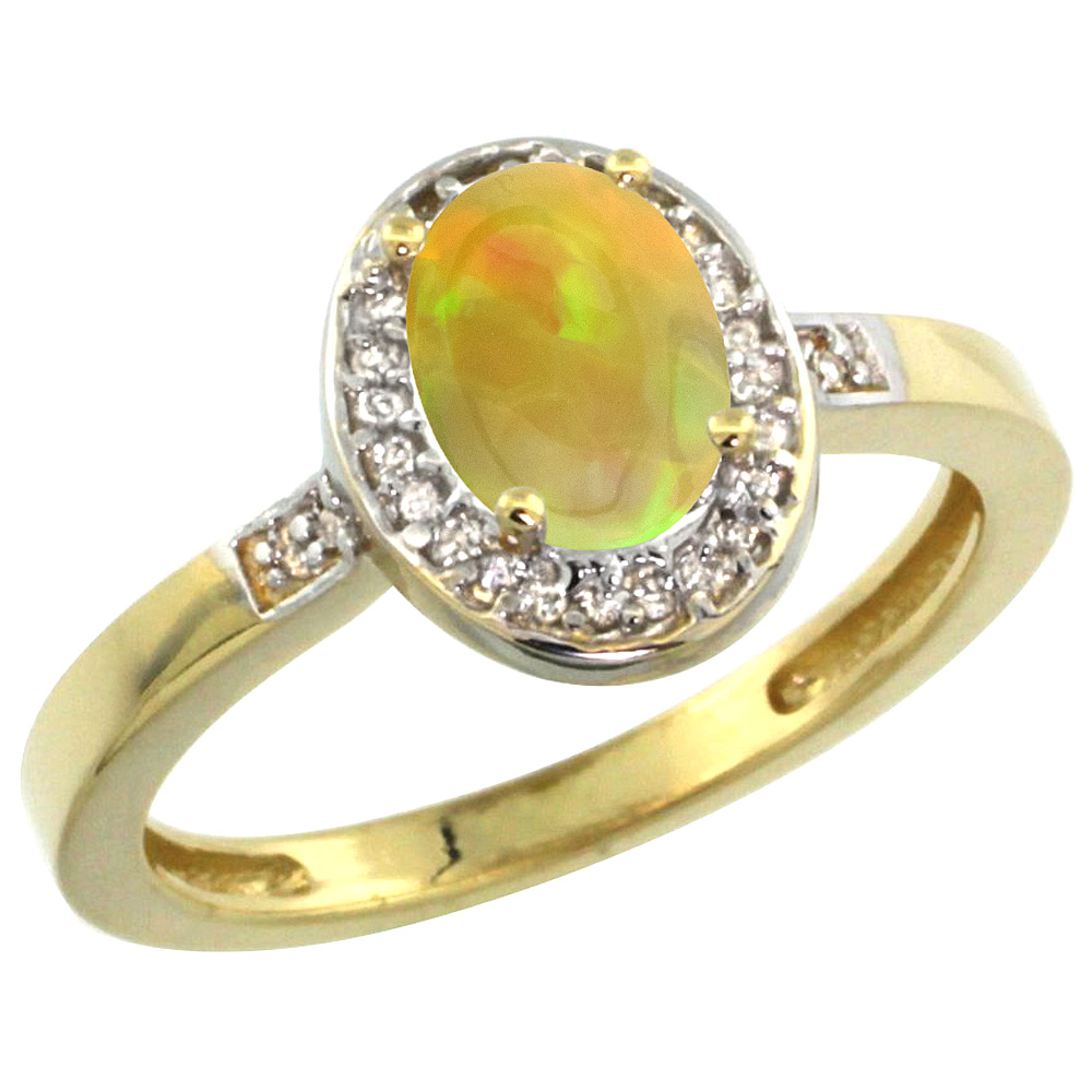 10K Yellow Gold Diamond Natural Ethiopian Opal Engagement Ring Oval 7x5mm, size 5-10