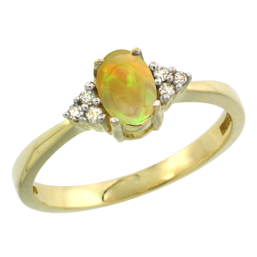 10K Yellow Gold Diamond Natural Ethiopian Opal Engagement Ring Oval 6x4mm, size 5-10