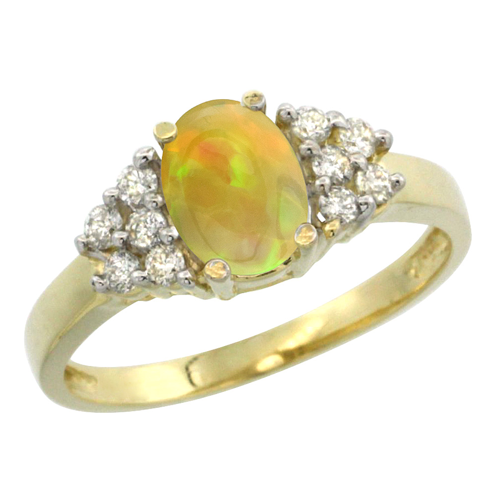 10K Yellow Gold Diamond Natural Ethiopian Opal Engagement Ring Oval 8x6mm, size 5-10