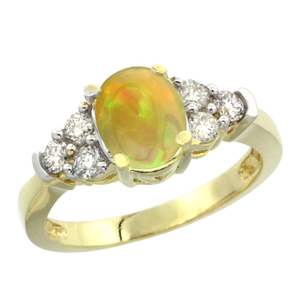 14K Yellow Gold Diamond Natural Ethiopian Opal Engagement Ring Oval 9x7mm, size 5-10