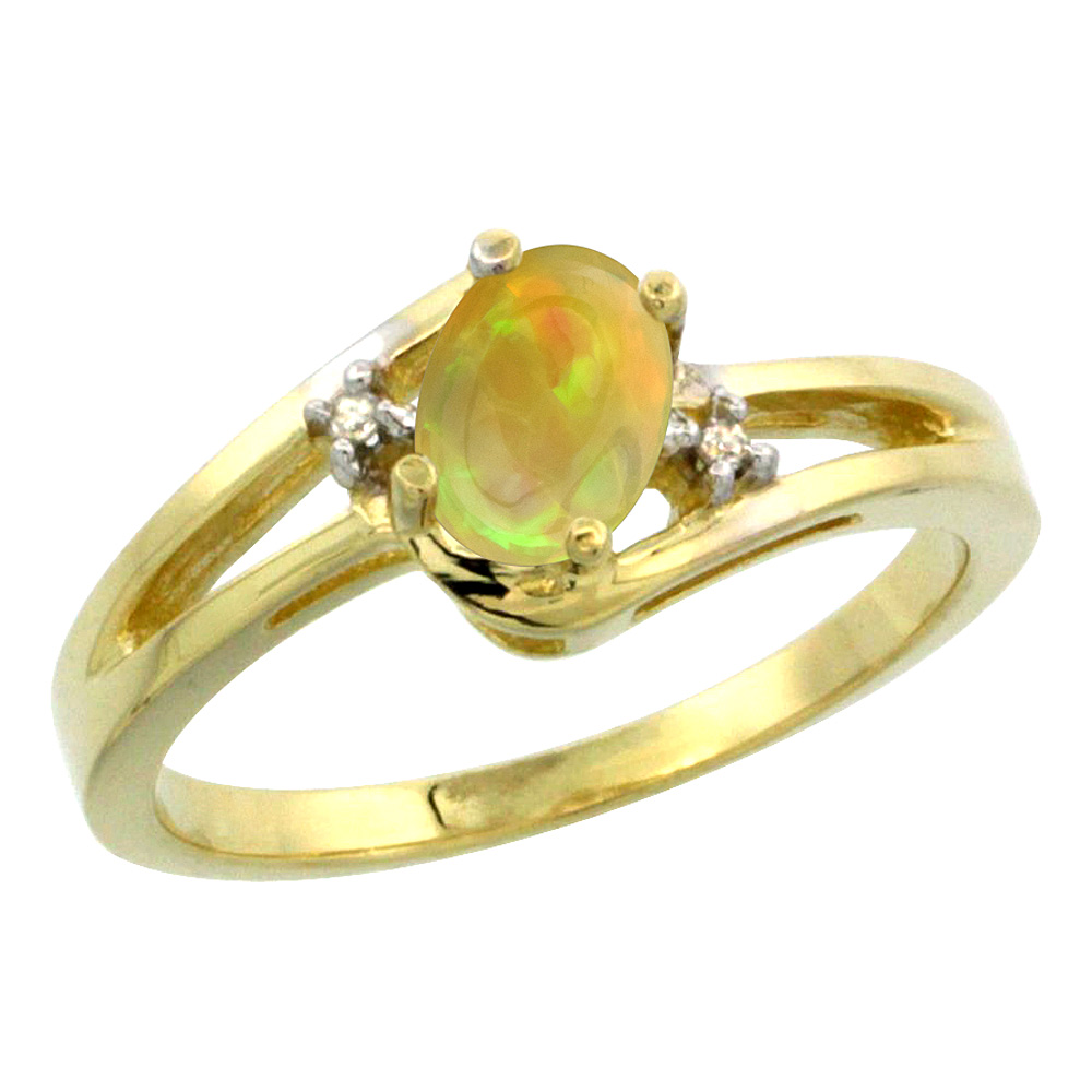 14K Yellow Gold Diamond Natural Ethiopian Opal Engagement Ring Oval 6x4 mm, size 5-10