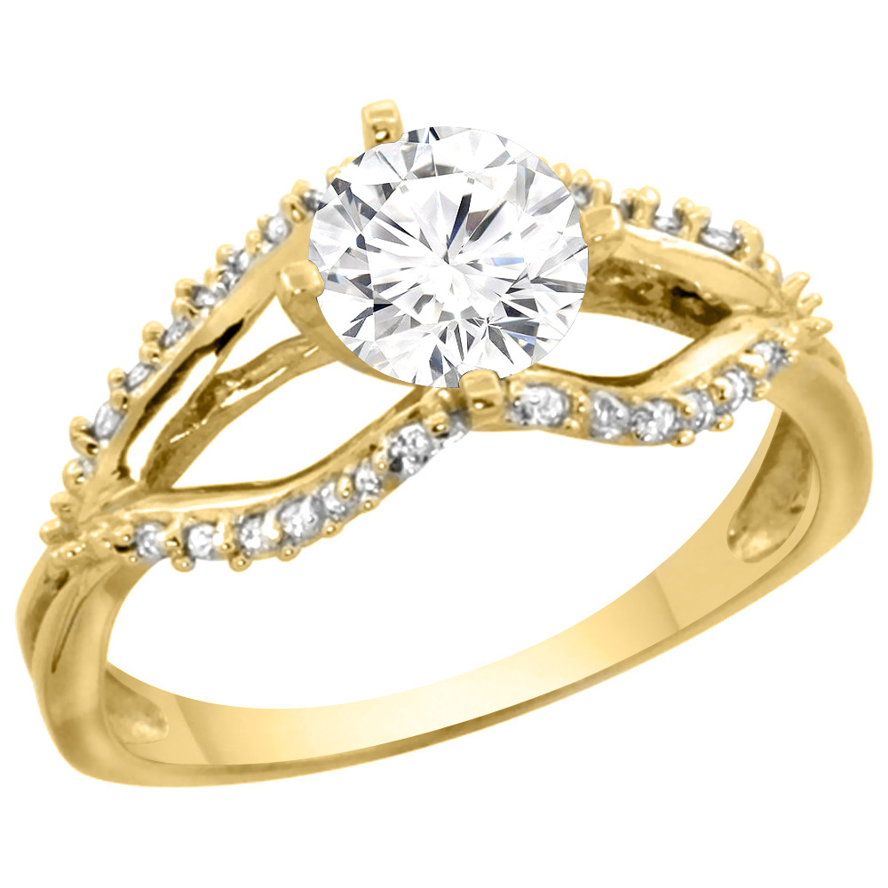 14k Yellow Gold 0.87cttw Diamond Ring & Accents, 5/16 inch wide, sizes 5 - 10