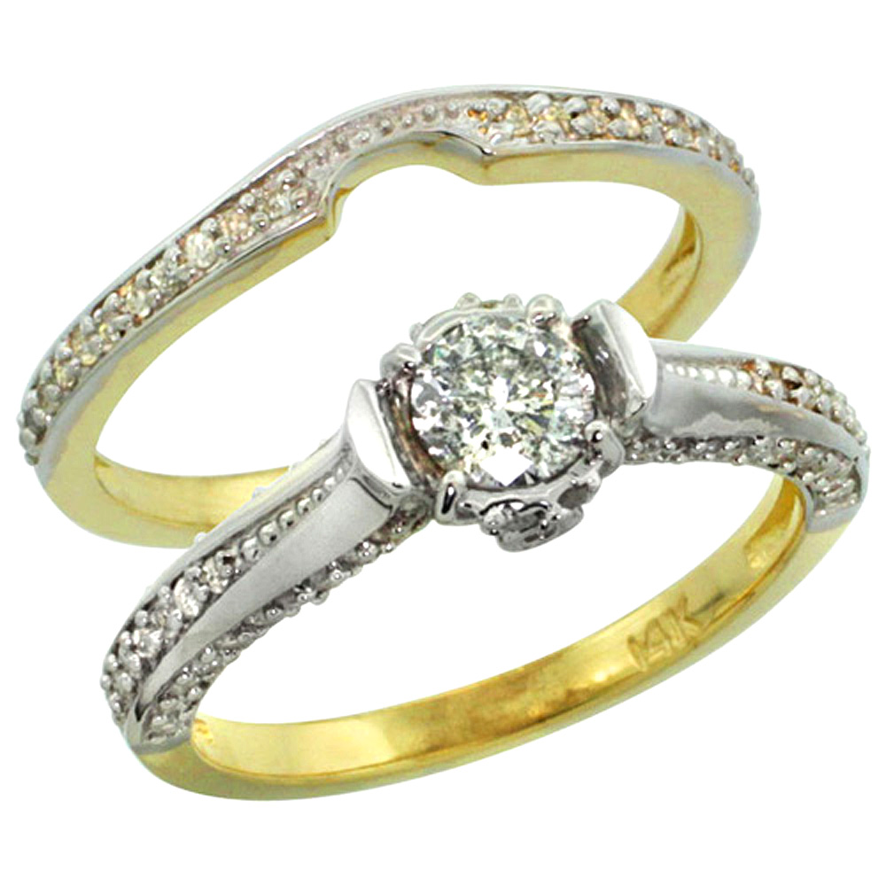 14k Gold 2-Pc. Diamond Engagement Ring Set w/ 0.41 Carat (Center) & 0.42 Carat (Sides) Brilliant Cut ( H-I Color; SI1 Clarity ) Diamonds, 1/4 in. (6.5mm) wide