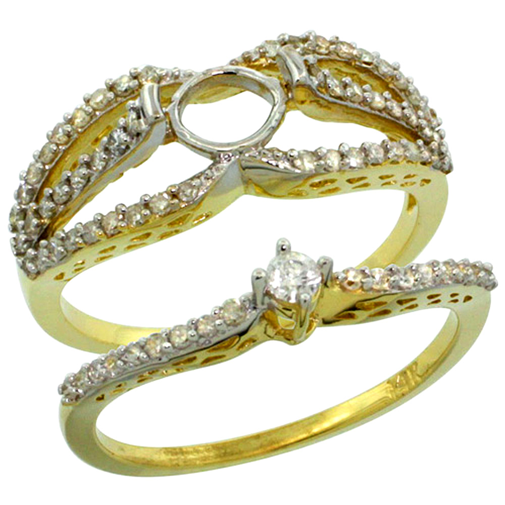 14k Gold Semi Mount (for 5mm Round Diamond) 2-Pc. Engagement Ring Set w/ 0.53 Carat Brilliant Cut ( H-I Color; SI1 Clarity ) Diamondsl, 3/8 in. (10mm) wide