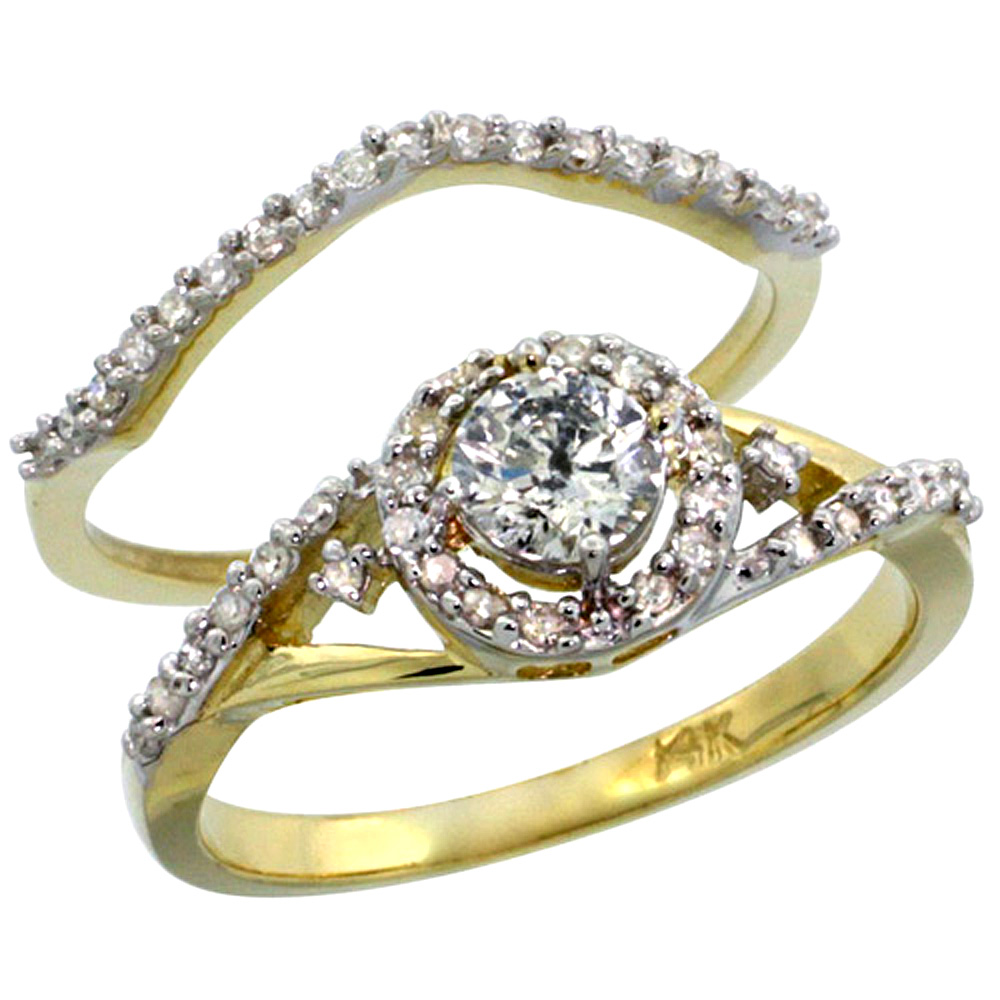 14k Gold 2-Pc. Diamond Engagement Ring Set w/ 0.43 Carat (Center) & 0.30 Carat (Sides) Brilliant Cut ( H-I Color; SI1 Clarity ) Diamondsl, 3/8 in. (9mm) wide