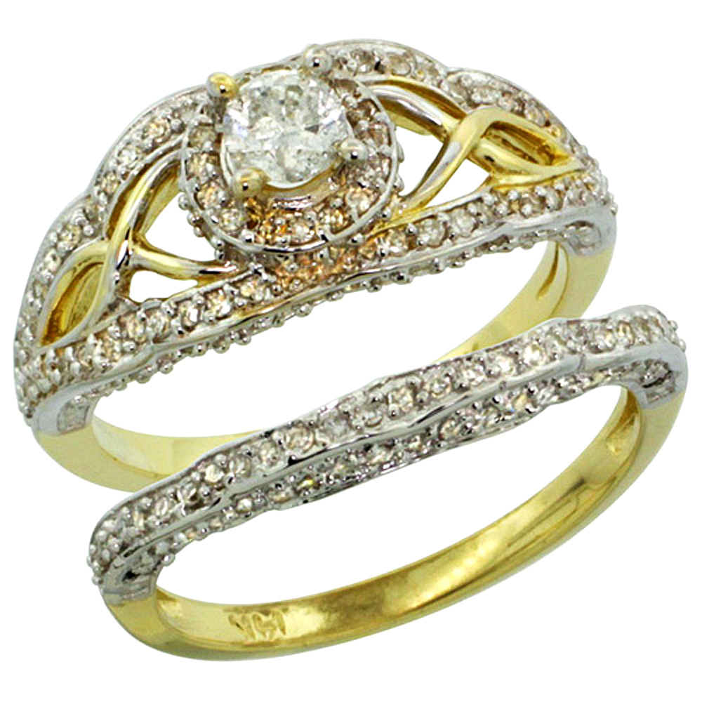 14k Gold 2-Pc. Diamond Engagement Ring Set w/ 0.29 Carat (Center) & 0.69 Carat (Sides) Brilliant Cut ( H-I Color; SI1 Clarity ) Diamondsl, 7/16 in. (11mm) wide