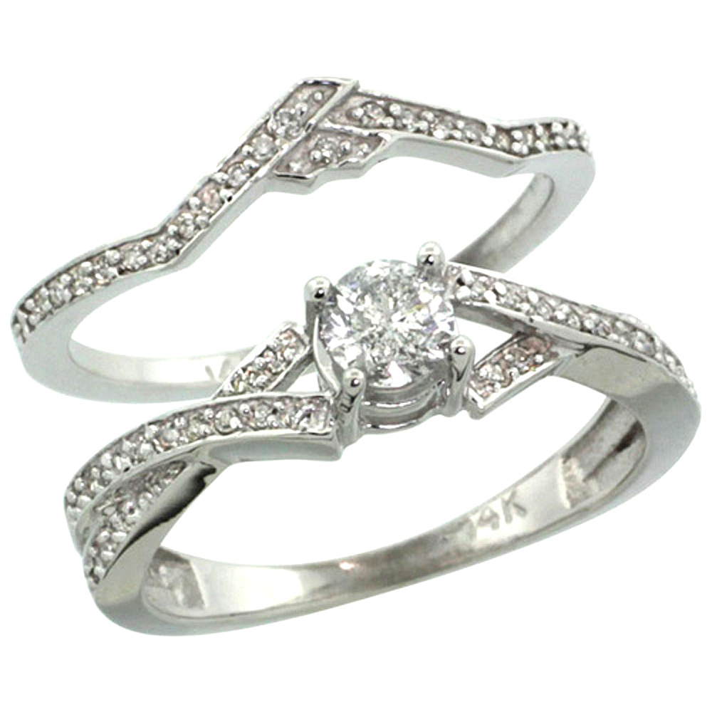 14k White Gold 2-Pc. Diamond Engagement Ring Set w/ 0.33 Carat (Center) & 0.17 Carat (Sides) Brilliant Cut ( H-I Color; SI1 Clarity ) Diamonds, 5/16 in. (8mm) wide