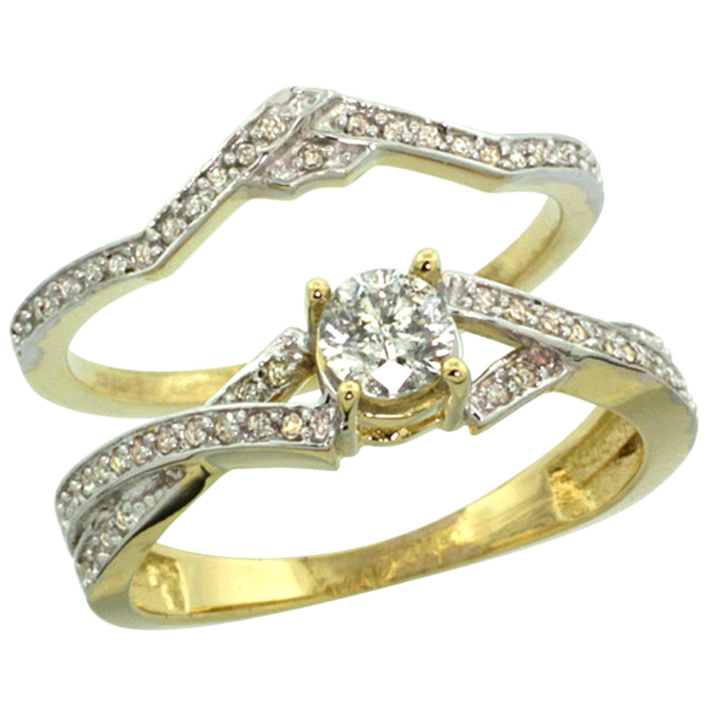 14k Gold 2-Pc. Diamond Engagement Ring Set w/ 0.33 Carat (Center) & 0.17 Carat (Sides) Brilliant Cut ( H-I Color; SI1 Clarity ) Diamonds, 5/16 in. (8mm) wide