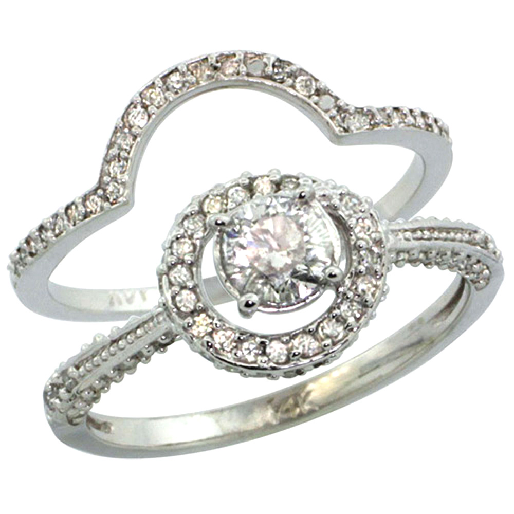 14k White Gold 2-Pc. Diamond Engagement Ring Set w/ 0.41 Carat (Center) & 0.70 Carat (Sides) Brilliant Cut ( H-I Color; SI1 Clarity ) Diamonds, 7/16 in. (11mm) wide
