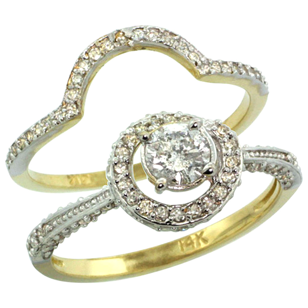 14k Gold 2-Pc. Diamond Engagement Ring Set w/ 0.41 Carat (Center) & 0.70 Carat (Sides) Brilliant Cut ( H-I Color; SI1 Clarity ) Diamonds, 7/16 in. (11mm) wide