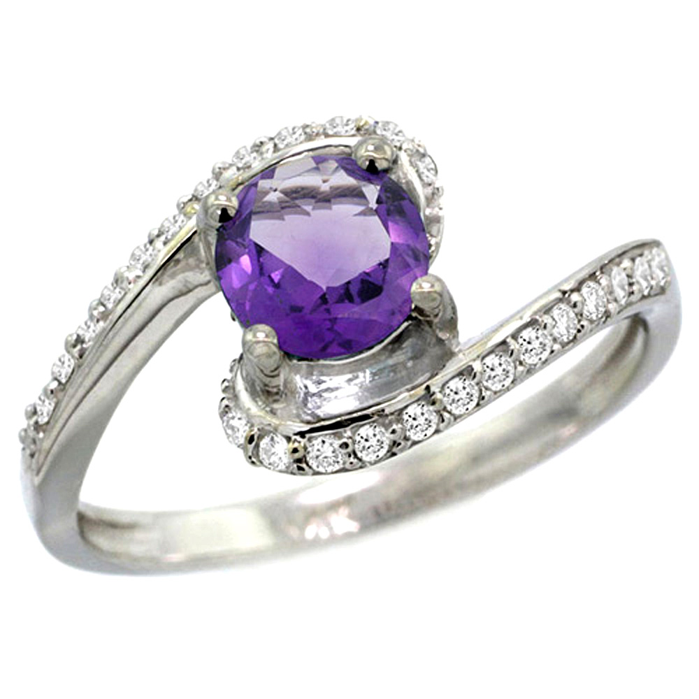 10K White Gold Natural Amethyst Swirl Design Ring Diamond Accent Round 6mm, 1/2 inch wide