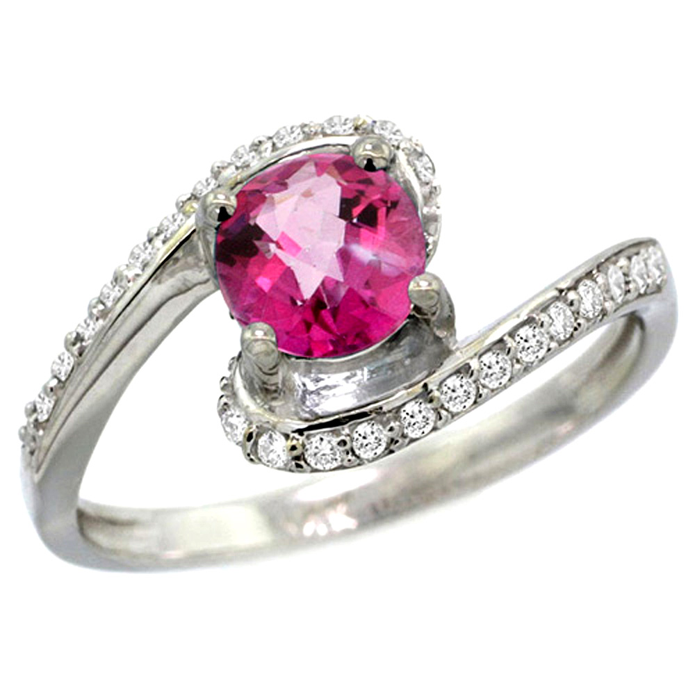 10K White Gold Natural Pink Topaz Swirl Design Ring Diamond Accent Round 6mm, 1/2 inch wide