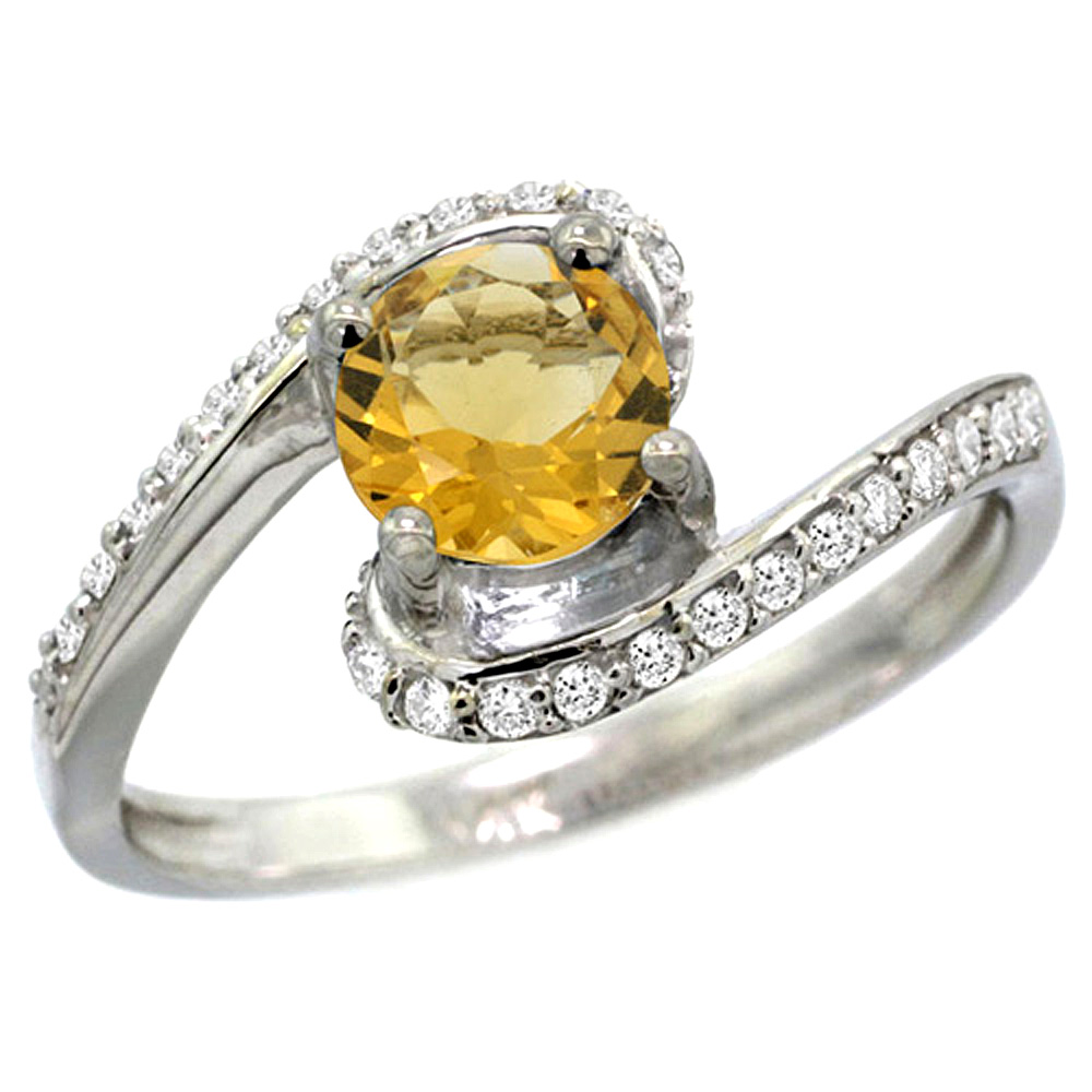 10K White Gold Natural Citrine Swirl Design Ring Diamond Accent Round 6mm, 1/2 inch wide