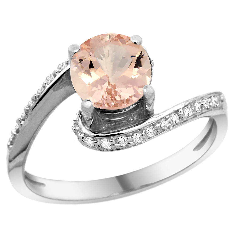 10K White Gold Natural Morganite Swirl Design Ring Diamond Accent Round 6mm, 1/2 inch wide