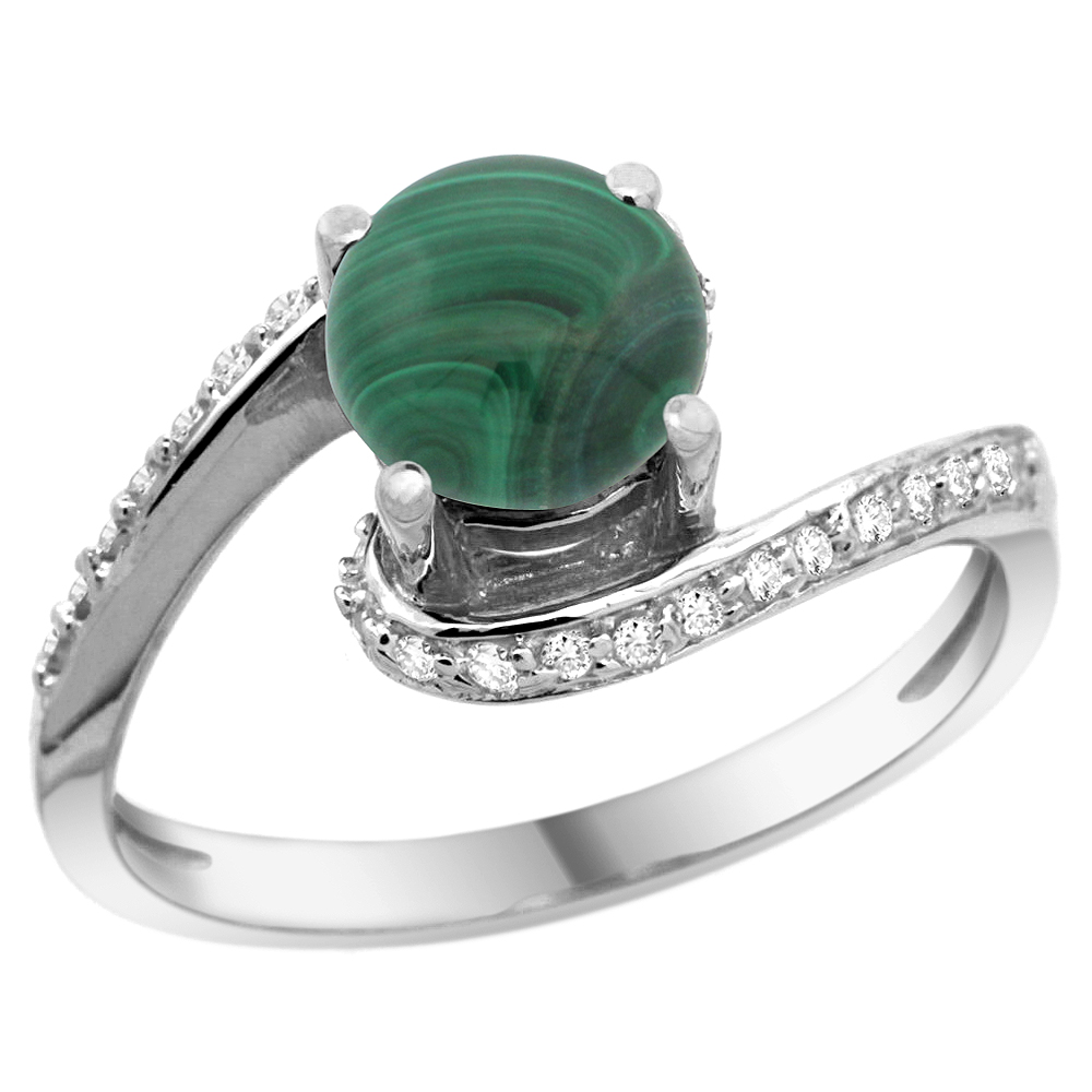 10K White Gold Natural Malachite Swirl Design Ring Diamond Accent Round 6mm, 1/2 inch wide