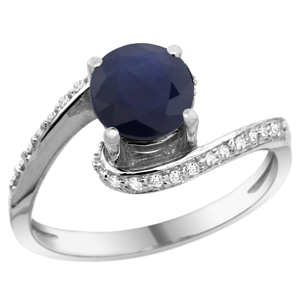 10K White Gold Natural High Quality Blue Sapphire Swirl Design Ring Diamond Accent Round 6mm, 1/2 inch wide