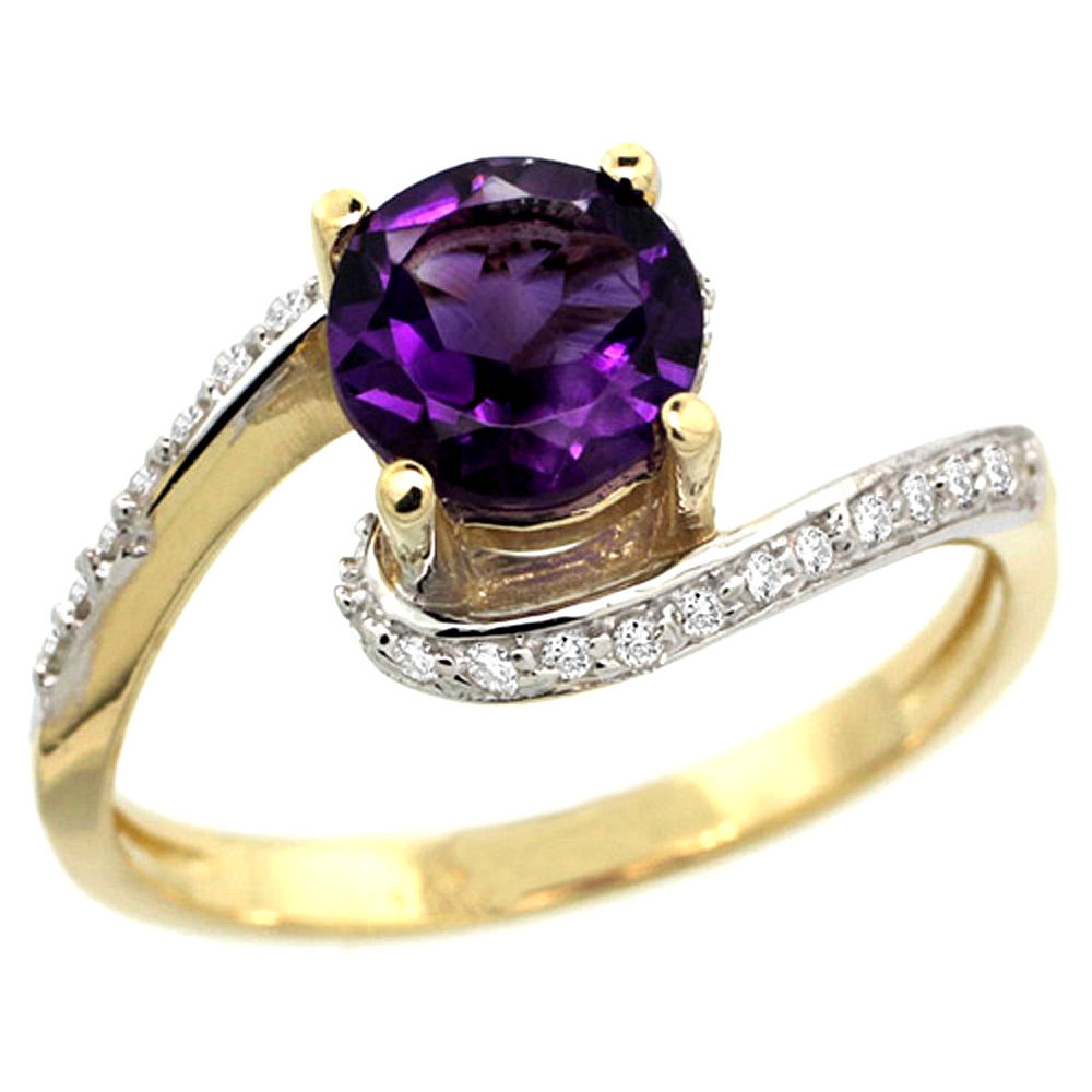 10K Yellow Gold Natural Amethyst Swirl Design Ring Diamond Accent Round 6mm, 1/2 inch wide