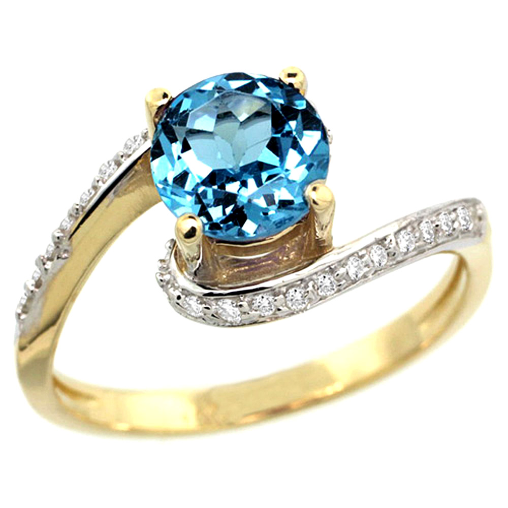 10K Yellow Gold Natural Swiss Blue Topaz Swirl Design Ring Diamond Accent Round 6mm, 1/2 inch wide