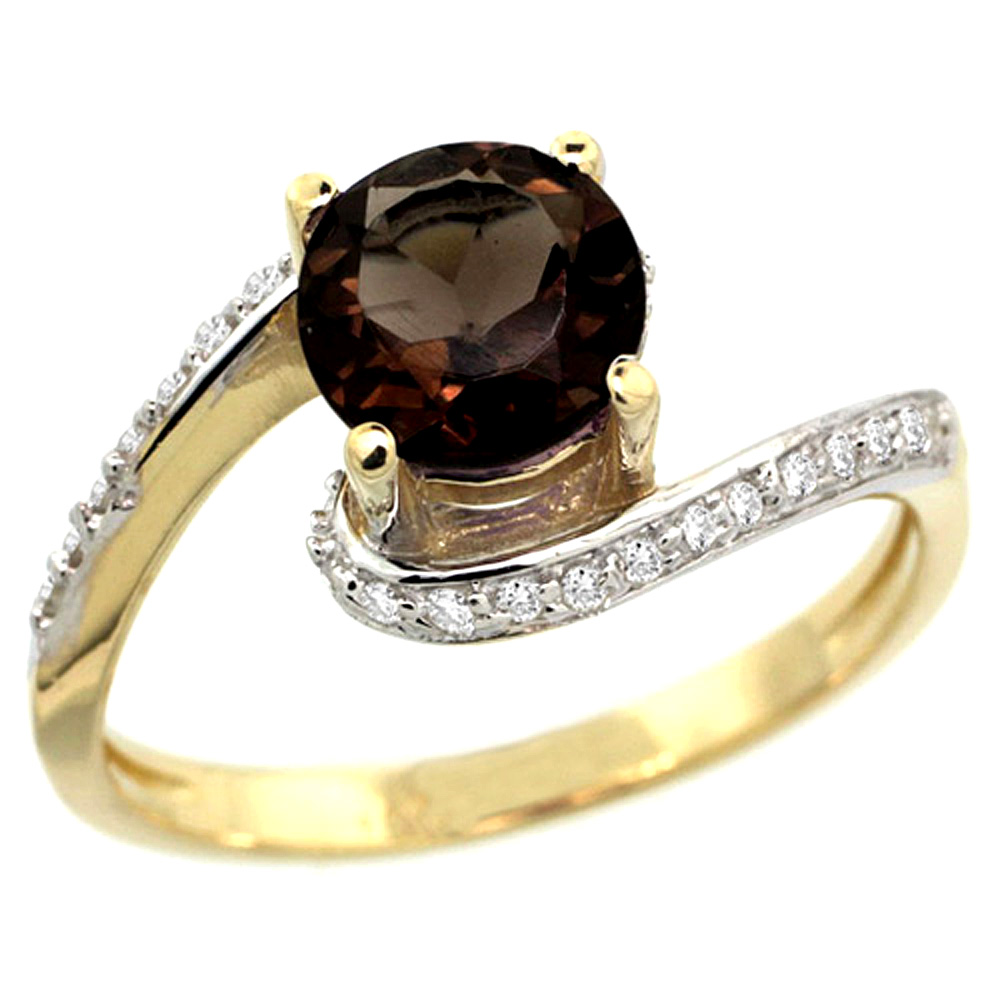 10K Yellow Gold Natural Smoky Topaz Swirl Design Ring Diamond Accent Round 6mm, 1/2 inch wide