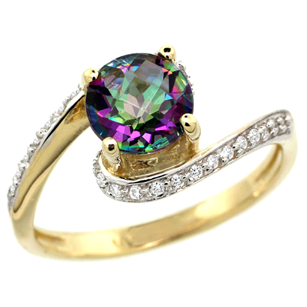 10K Yellow Gold Natural Mystic Topaz Swirl Design Ring Diamond Accent Round 6mm, 1/2 inch wide