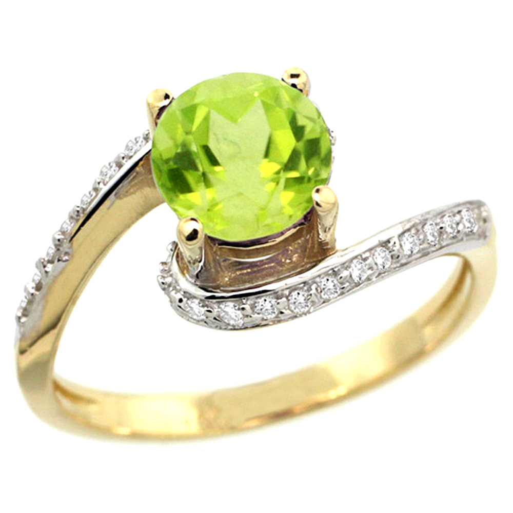10K Yellow Gold Natural Peridot Swirl Design Ring Diamond Accent Round 6mm, 1/2 inch wide