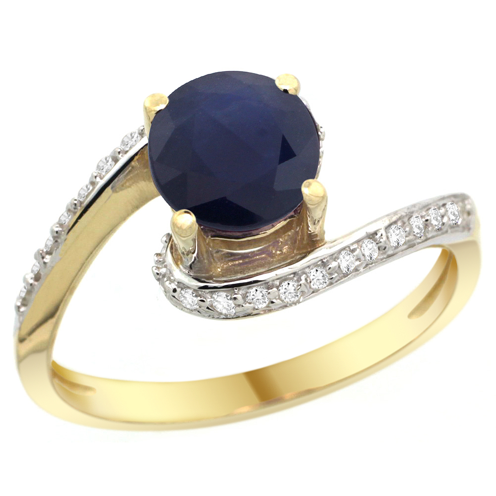 10K Yellow Gold Natural High Quality Blue Sapphire Swirl Design Ring Diamond Accent Round 6mm, 1/2 inch wide