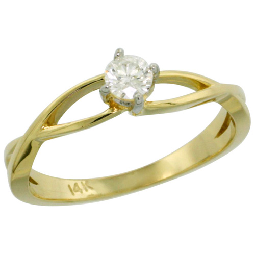 14k Gold Loop Diamond Engagement Ring w/ 0.19 Carat Brilliant Cut ( H-I Color; SI1 Clarity ) Diamond, 3/16 in. (4.5mm) wide