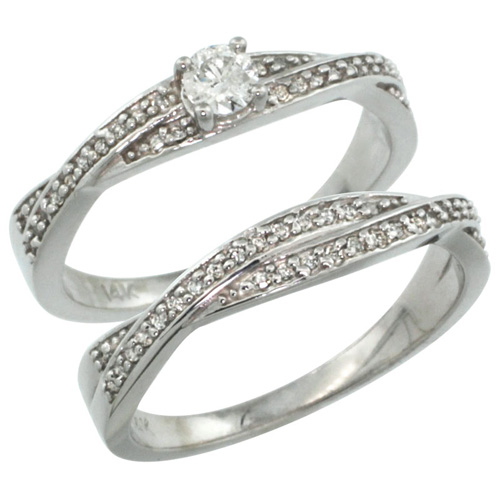 14k White Gold 2-Pc Diamond Engagment Ring Set w/ 0.36 Carat Brilliant Cut ( H-I Color; VS2-SI1 Clarity ) Diamonds, 1/4 in. (7mm) wide
