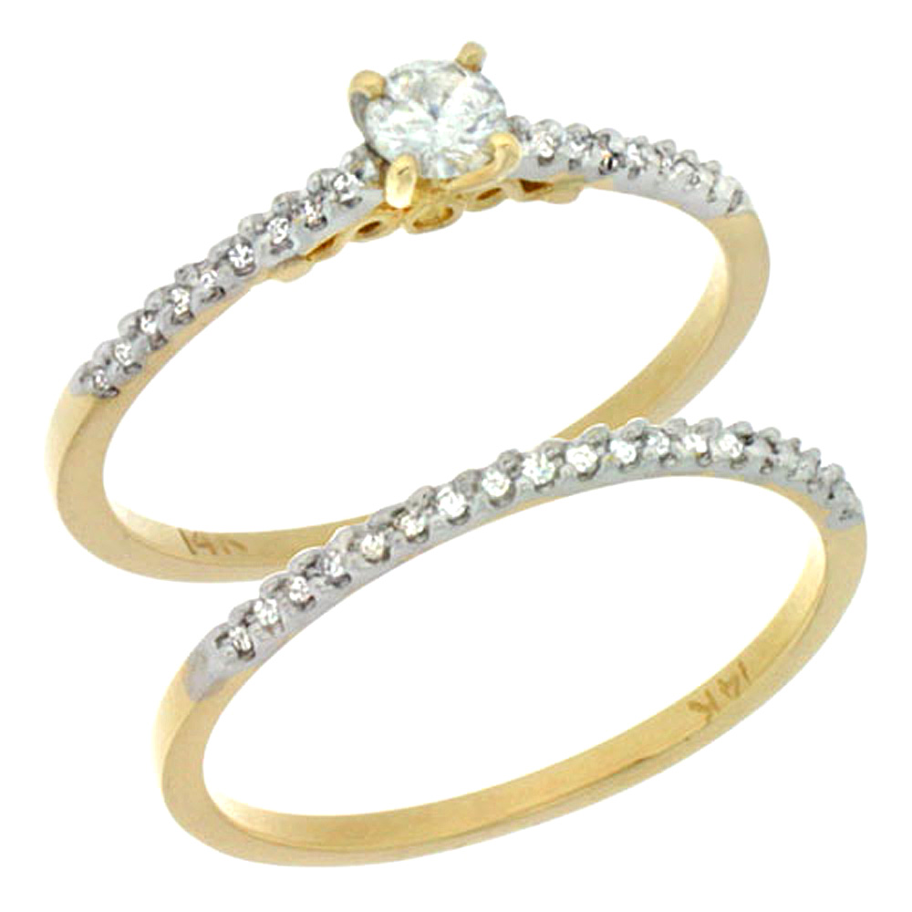 14k Gold 2-Pc Diamond Engagement Ring Set w/ 0.30 Carat Brilliant Cut ( H-I Color; VS2-SI1 Clarity ) Diamonds, 1/8 in. (3mm) wide