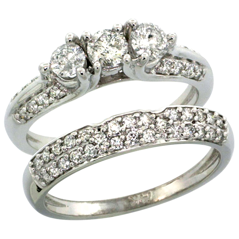 14k White Gold 2-Pc. Diamond Engagement Ring Set w/ 0.64 Carat (Center) & 0.45 Carat (Sides) Brilliant Cut ( H-I Color; VS2-SI1 Clarity ) Diamonds, 5/16 in. (8mm) wide