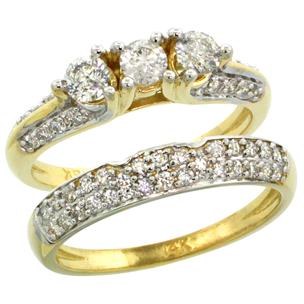 14k Gold 2-Pc. Diamond Engagement Ring Set w/ 0.64 Carat (Center) & 0.45 Carat (Sides) Brilliant Cut ( H-I Color; VS2-SI1 Clarity ) Diamonds, 5/16 in. (8mm) wide