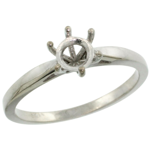 14k White Gold Semi Mount (for 5mm Round Diamond) Engagement Ring 1/16 in. (2mm) wide