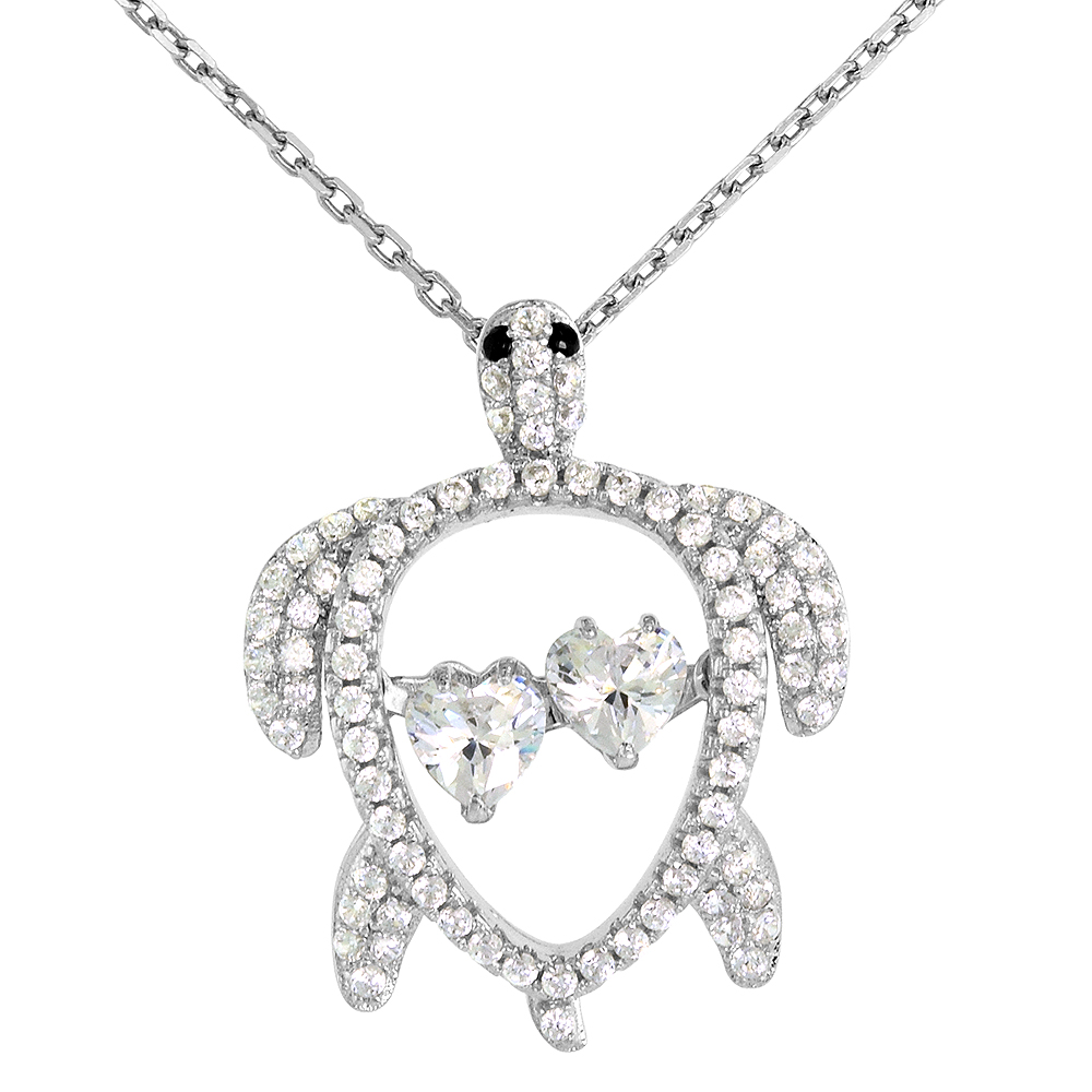 Sterling silver Dancing CZ Sea Turtle Necklace Black Eyes Micro Pave 16 - 20 inch