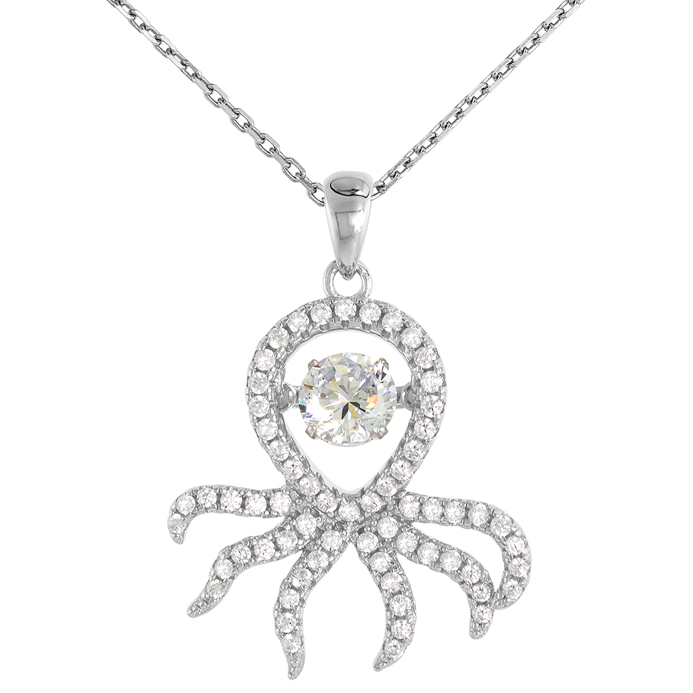 Sterling silver Dancing CZ Octopus Necklace Micro Pave 16 - 20 inch Boston Chain