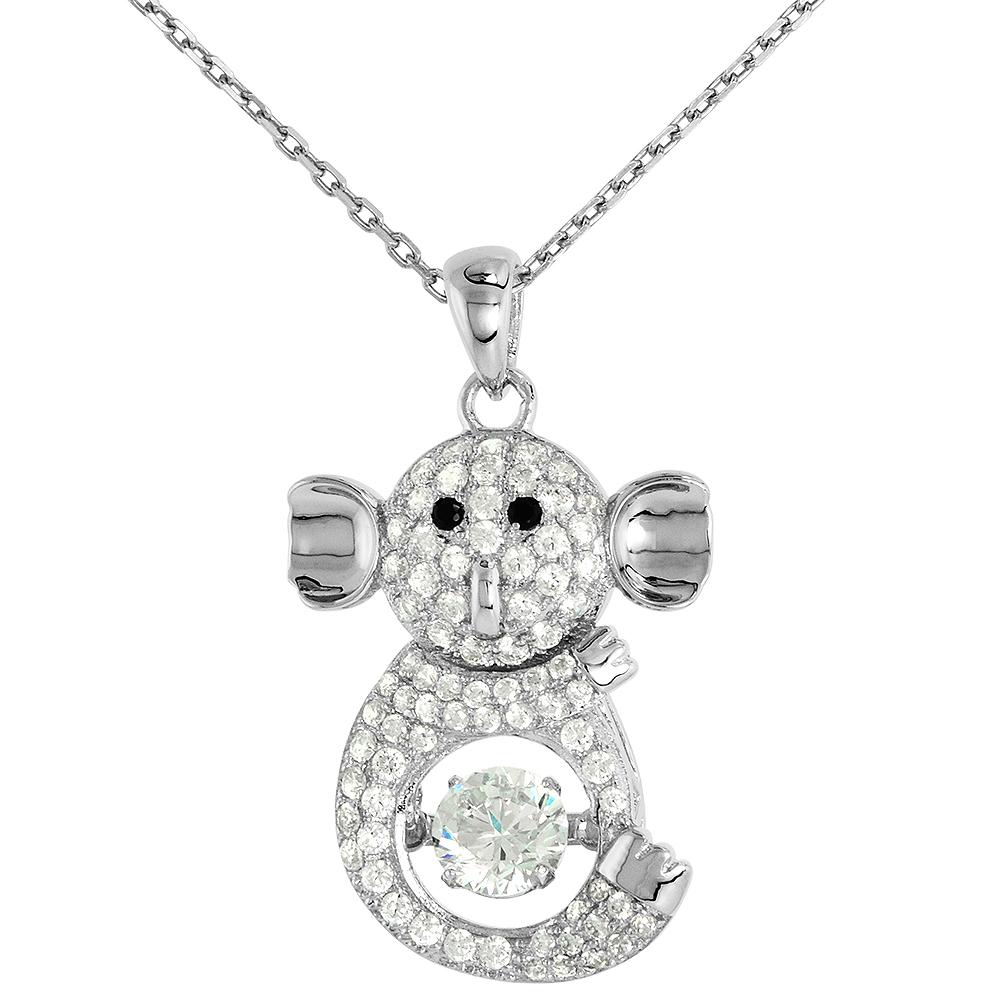 Sterling silver Dancing CZ Koala  Necklace Black Eyes Micro Pave 16 - 20 inch Boston Chain