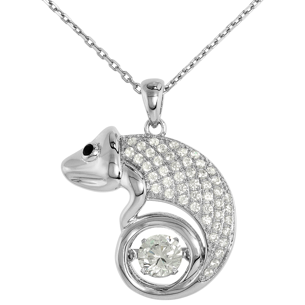 Sterling silver Dancing CZ Chameleon Necklace Black Eyes Micro Pave 16 - 20 inch Boston Chain
