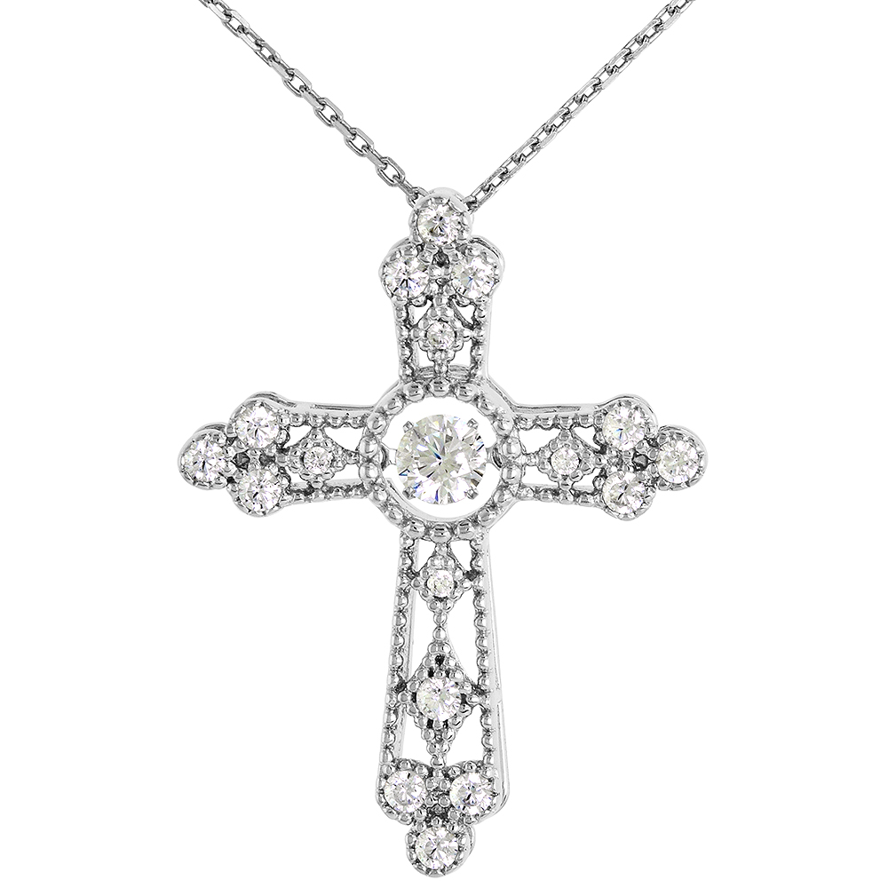 Sterling silver Dancing CZ Cross Necklace Micro Pave 16 - 20 inch Boston Chain