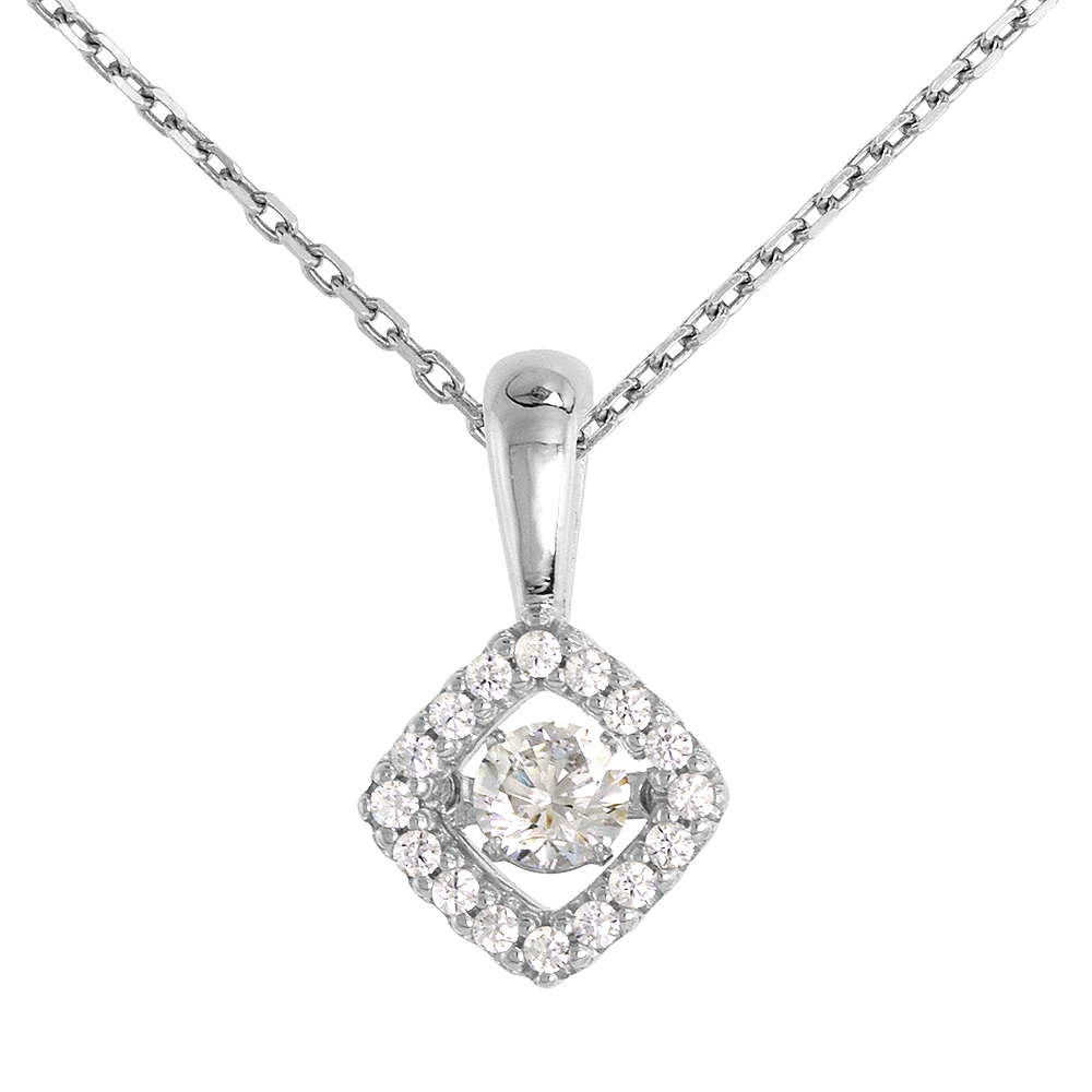 Sterling silver Dancing CZ Halo Necklace Micro Pave 16 - 20 inch Boston Chain