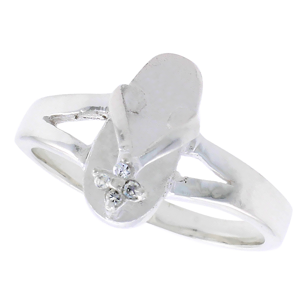 Sterling Silver Hawaiian Flip Flop Ring Cubic Zirconia Accents, 1/2 inch wide, sizes 7 - 9
