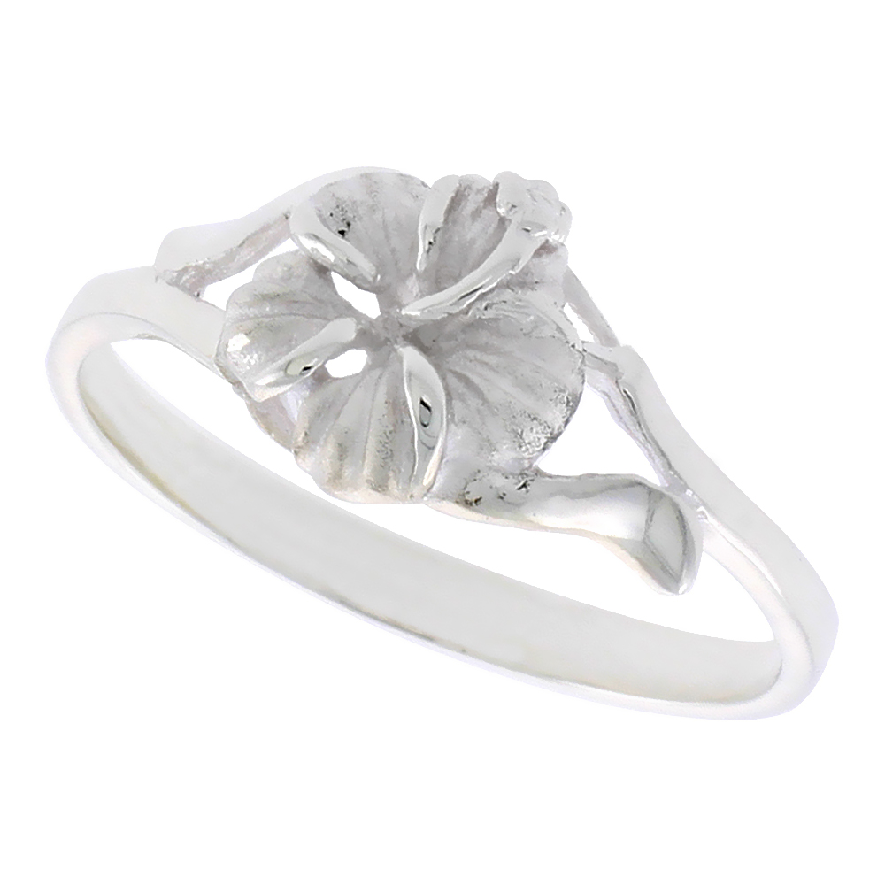 Sterling Silver Hawaiian Hibiscus Ring, 3/8 inch wide, sizes 6 - 9
