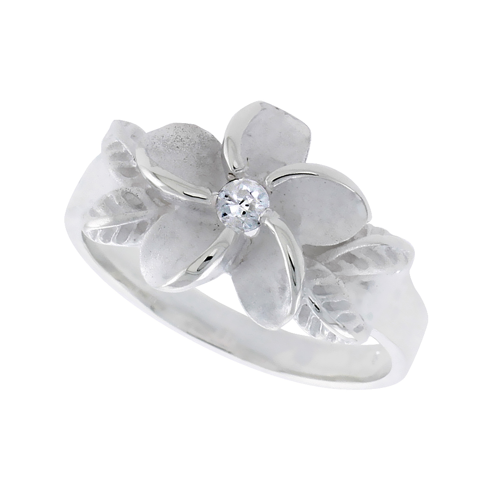 Sterling Silver Hawaiian Plumeria Ring Yellow Gold Accents, 1/2 inch wide, sizes 8 - 9