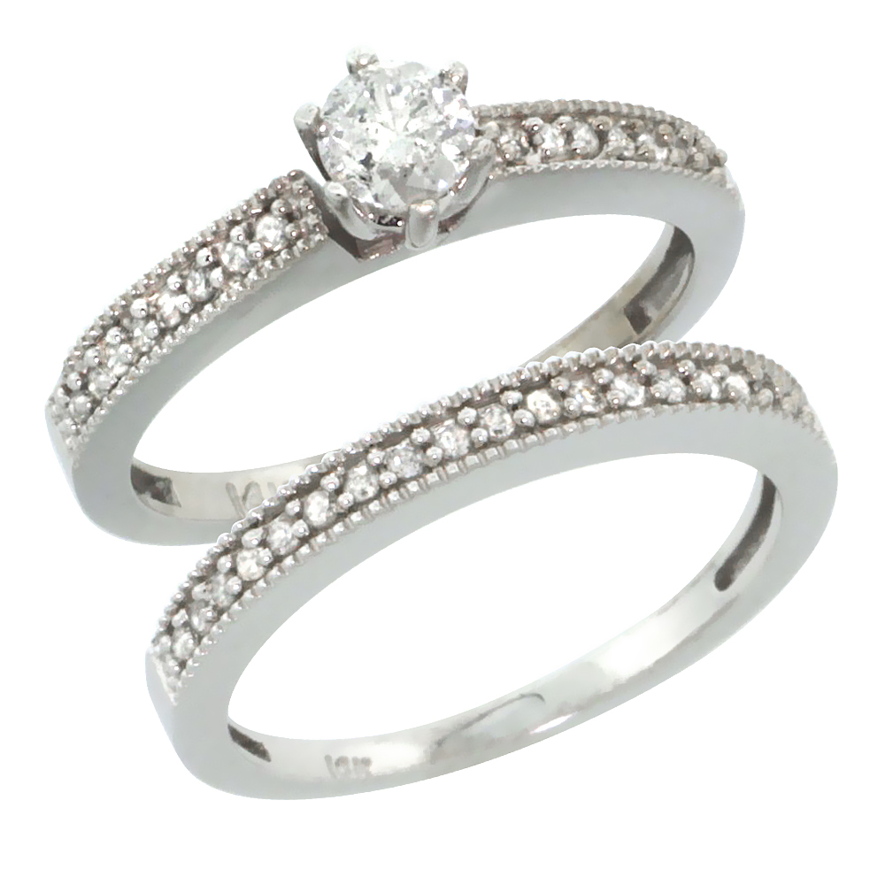 10k White Gold 2-Pc. Diamond Engagement Ring Set w/ 0.50 Carat Brilliant Cut Diamonds, 1/8 in. (3mm) wide