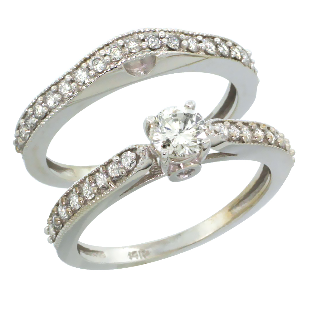 10k White Gold 2-Pc. Diamond Engagement Ring Set w/ 0.92 Carat Brilliant Cut Diamonds, 1/8 in. (3mm) wide